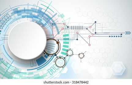 Vector illustration engineering technology. Integration and innovation technology concept with 3D paper label circles and space for content, network, web- template design, business tech presentation