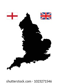 vector illustration of England map and flag with UK flag