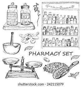 vector illustration of engraving pharmacy hands drawing