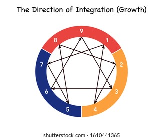 Vector illustration of Enneagram - Personality Types Diagram. 9 ennea types. The direction of integration