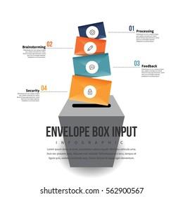 Vector illustration of envelope box input infographic design element.