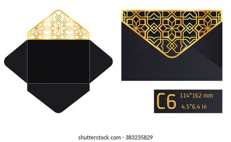 Vector Illustration of Envelope Die cut Mock up for Design, Website, Background, Banner. Blueprint texture for Gift Pack. Wedding Invitation Element Template. Gold and Black