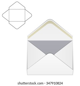 Vector Illustration of Envelope paper or craft Box for Design, Website, Background, Banner. Folding package Template. Fold Post pack with die line for your corporate brand on it