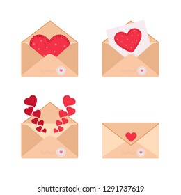 Vector illustration envelopes with hearts for Valentine's, Mother's and Women's day greetings.