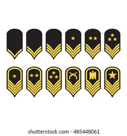Vector illustration epaulets, military ranks and insignia isolated on white background.