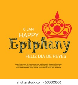 Vector illustration of a Epiphany background with crown and for christian holiday.