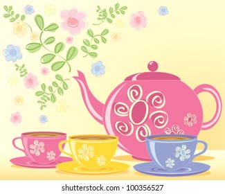 a vector illustration in eps 10 format of a pink decorated teapot and matching cups and saucers with a green leaf and flower background