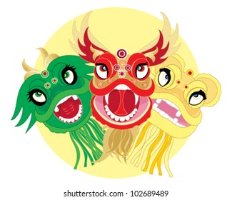 a vector illustration in eps 10 format of traditional chinese dragon dance heads in bright colors on a yellow sun background