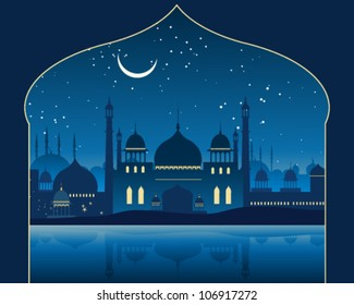 a vector illustration in eps 10 format of an exotic indian skyline with mogul architecture minarets and mosques under a moonlit starry sky