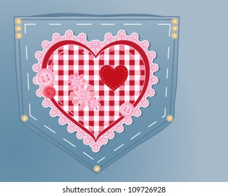 a vector illustration in eps 10 format of a jeans pocket customized with a red and pink gingham heart decorated with lace buttons brass rivets and fabric flowers