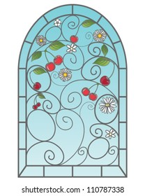 a vector illustration in eps 10 format of a beautiful stained glass window with cherry fruits in an abstract design with blue sky on a white background