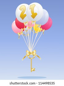 a vector illustration in eps 10 format of a group of colorful balloons with the number 21 in gold floating with a golden key on a blue background with space for text