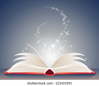 a vector illustration in eps 10 format of a bright red magic book of spells open on a table with stars and sparkles on a dark blue background