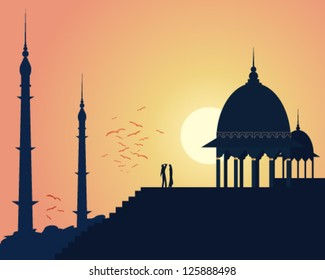 a vector illustration in eps 10 format of beautiful asian architecture with domes and spires in an urban landscape under a setting sun