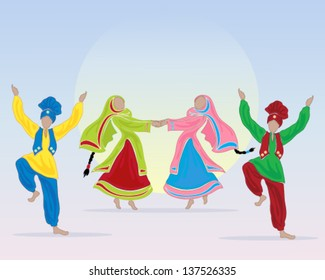 a vector illustration in eps 10 format of punjabi dancers performing a folk dance in traditional dress on a blue background with a big sun