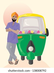 a vector illustration in eps 10 format of a sikh taxi driver with orange turban standing next to a decorated auto rickshaw under an indian sun