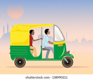 a vector illustration in eps 10 format of a tuk tuk taxi in india with driver and passenger in an urban setting in the evening
