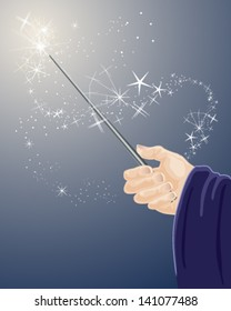 a vector illustration in eps 10 format of a wizards hand holding a magic wand with sparkles and stars on a dark blue background