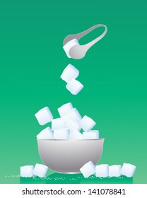 a vector illustration in eps 10 format of a bowl of sugar cubes with metal tongs and granules on a green background