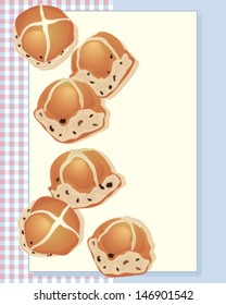 a vector illustration in eps 10 format of delicious hot cross buns freshly baked from the oven on a gingham background and space for text