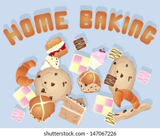 a vector illustration in eps 10 format of a home baking background image with various cakes and cookies on a blue gray background with biscuit letters