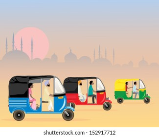 a vector illustration in eps 10 format of three colorful asian tuk tuks racing along in a dusty urban setting in the evening at sunset