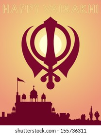 a vector illustration in eps 10 format of a happy vaisakhi greeting card design with a gurdwara at sundown and a sikh symbol