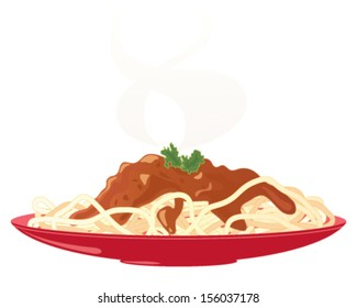 a vector illustration in eps 10 format of a red plate with a meal of delicious spaghetti bolognese and parsley garnish with steam isolated on a white background