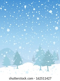 a vector illustration in eps 10 format of a snowy seasonal christmas landscape with fir trees and hills under a blue sky