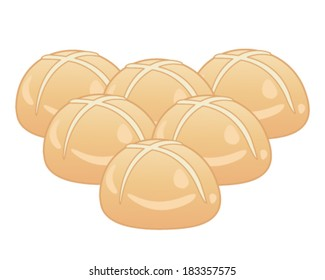 a vector illustration in eps 10 format of six hot cross buns arranged in a triangle shape isolated on a white background