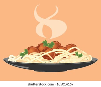 a vector illustration in eps 10 format of a plate of freshly made meatballs with spaghetti and salad leaf and rising steam