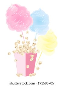 a vector illustration in eps 10 format of sweet snacks cotton candy and popcorn in a pink carton on a white background
