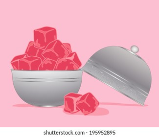 a vector illustration in eps 10 format of pink Turkish delight in cubes in a metallic silver bowl and lid on a pink background
