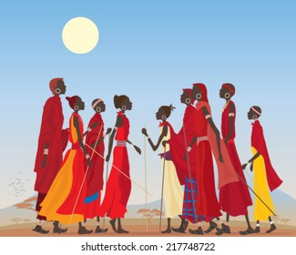 a vector illustration in eps 10 format of a group of masai men and women in traditional clothing in an arid african landscape