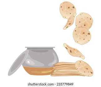 a vector illustration in eps 10 format of a stack of chapattis with metal cooking pot and lid on a white background
