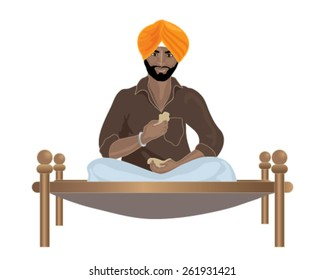 a vector illustration in eps 10 format of a punjabi sikh man eating chapattis on a wooden framed bed on a white background