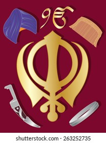 a vector illustration in eps 10 format of the holy symbol of sikhism in gold  with articles of sikh culture on a maroon background