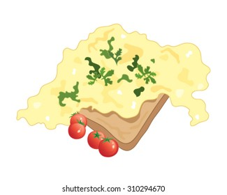 a vector illustration in eps 10 format of scrambled eggs on toast with cherry tomatoes and cilantro garnish on a white background