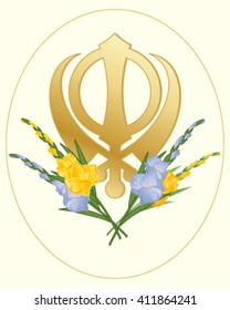 a vector illustration in eps 10 format of a greeting card with a sikh golden symbol of the faith decorated with gladioli flowers on a cream background