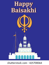 a vector illustration in eps 10 format of a greeting card celebrating the sikh festival of baisakhi with a white gurdwara and a chakra symbol on a purple background