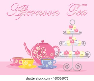 a vector illustration in eps 10 format of a traditional english afternoon tea in advert format with teapot cups and fancy cake stand on a pink background