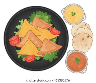 a vector illustration in eps 10 format of a dark plate with samosa snacks lettuce and tomato and some spicy dips with chapatti bread on a white background