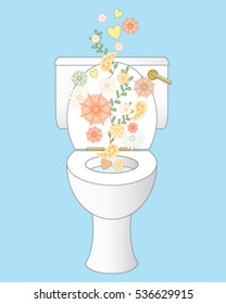 a vector illustration in eps 10 format of a sparkling white clean ceramic toilet with freshness represented by flowers and foliage on an ice blue background