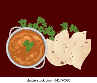 a vector illustration in eps 10 format of a bowl of chicken tikka masala with chapatti halves and coriander garnish on a burgundy background