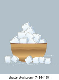 a vector illustration in eps 10 format of a wooden bowl of sugar cubes scattered with sugar granules on a slate blue background