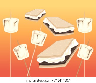 a vector illustration in eps 10 format of toasted marshmallows and smores on a fire background