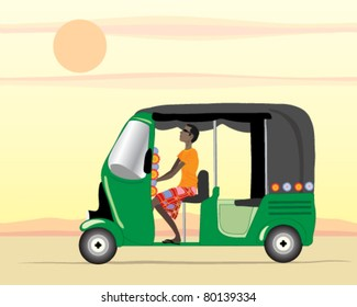 vector illustration in eps 10 format of a young male auto rickshaw driver in a green tuk tuk at sunset