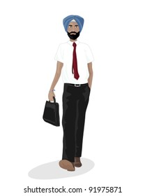 vector illustration in eps 10 format of a sikh businessman carrying a briefcase