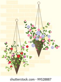 a vector illustration in eps 10 format of two decorative hanging baskets in summer against a warm brick wall
