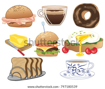 a vector illustration in eps 10 format of types of food and drinks usually consumed at breakfast